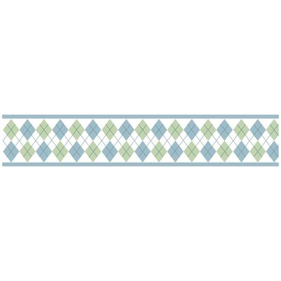Sweet Jojo Designs Argyle Green Blue Collection Wall Paper Border
