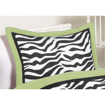 Sweet Jojo Designs Zebra Lime Collection Standard Pillow Sham