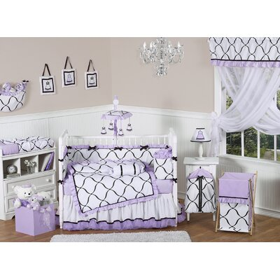Sweet Jojo Designs Purple, Black and White Princess 9 Piece Crib Bedding Set
