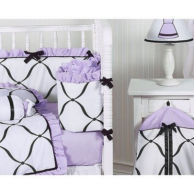 Sweet Jojo Designs Princess Black, White and Purple Collection 9pc Crib Bedding Set