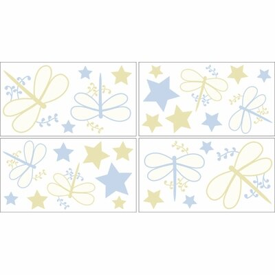 Sweet Jojo Designs Blue Dragonfly Dreams Collection Wall Decal Stickers
