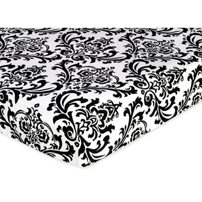 Sweet Jojo Designs Isabella Black and White Collection Fitted Crib Sheet  - Damask Print