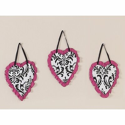 Sweet Jojo Designs Isabella Hot Pink, Black and White Collection Wall Hangings (Set of 3)