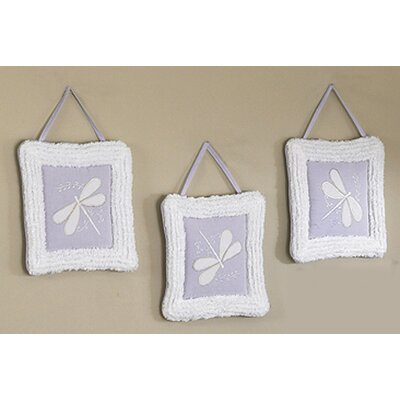 Sweet Jojo Designs Purple Dragonfly Dreams Collection Wall Hangings (Set of 3)