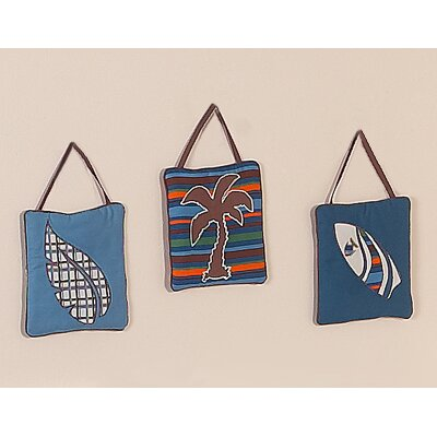Sweet Jojo Designs Surf Blue Collection Wall Hangings 3 Piece Set