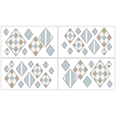 Sweet Jojo Designs Argyle Blue Cocoa Collection Wall Decal Stickers
