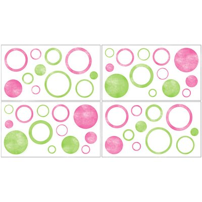 Sweet Jojo Designs Circles Pink Wall Decals - Set of 4 Sheets