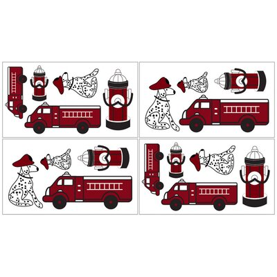 Sweet Jojo Designs Fire Truck Collection Wall Decal Stickers