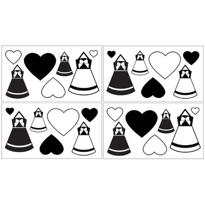 Sweet Jojo Designs Princess Black and White Collection Wall Decal Stickers