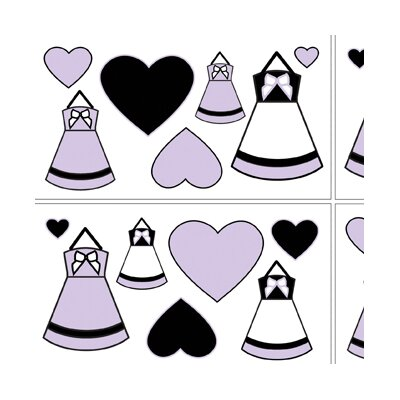 Princess Black, White and Purple Collection Wall Decal Stickers