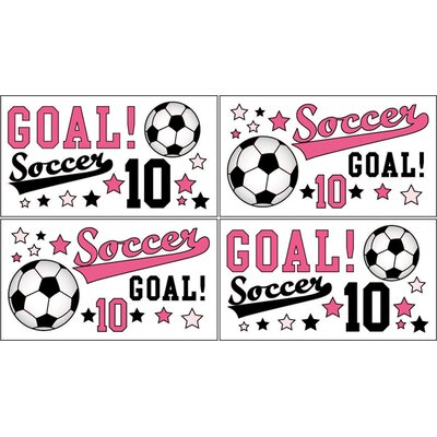 Sweet Jojo Designs Soccer Pink Collection Wall Decal Stickers