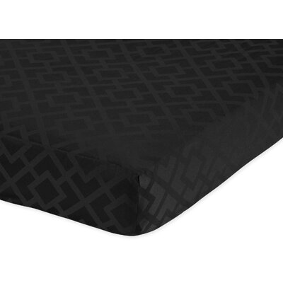Sweet Jojo Designs Diamond Black Collection Fitted Crib Sheet  - Diamond Print