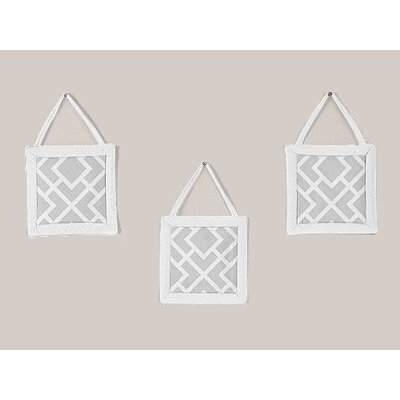Sweet Jojo Designs Diamond Gray and White Collection Wall Hangings (Set of 3)