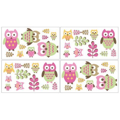 Owl Pink Collection Wall Decal Stickers