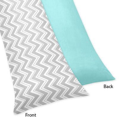 Sweet Jojo Designs Zig Zag Turquoise and Gray Collection Body Pillow Case