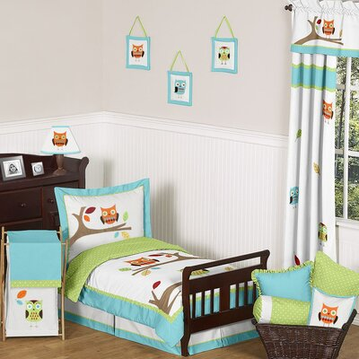 Hooty Turquoise and Lime Toddler Bedding Collection