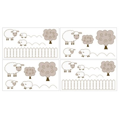 Sweet Jojo Designs Lamb Collection Wall Decal Stickers (Set of 4)