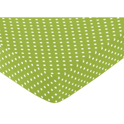 Sweet Jojo Designs Lime and White Spirodot Fitted Crib Sheet with Polka Dot Print