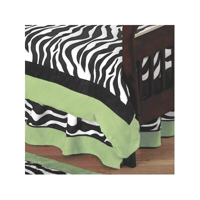 Sweet Jojo Designs Zebra Lime Toddler Bed Skirt
