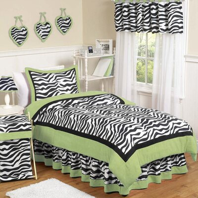 Sweet Jojo Designs Zebra Lime Collection Twin Bedding Set