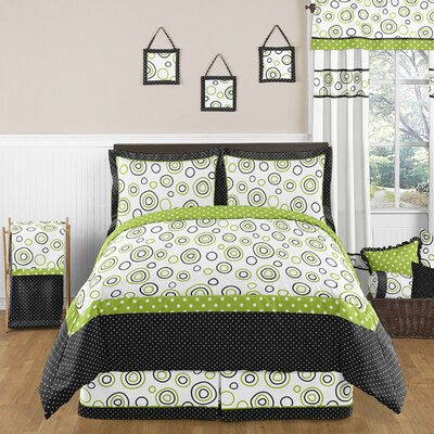 Sweet Jojo Designs Lime and Black Spirodot Bedding Collection
