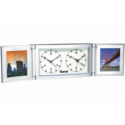 New Haven Dual Folded Travel Alarm Clock with Photo Frame