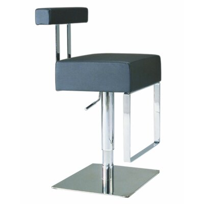 Chintaly Imports Adjustable Upholstered Swivel Stool in Black