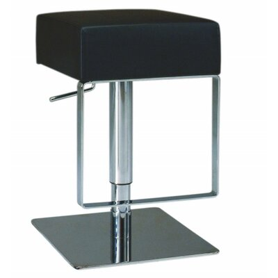 Chintaly Adjustable Backless Swivel Stool with Square Seat in Black