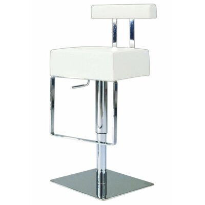 Chintaly Adjustable Upholstered Swivel Stool in White