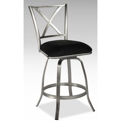 Chintaly Imports Audrey X Back Memory Swivel Counter Stool in Nickel Plated