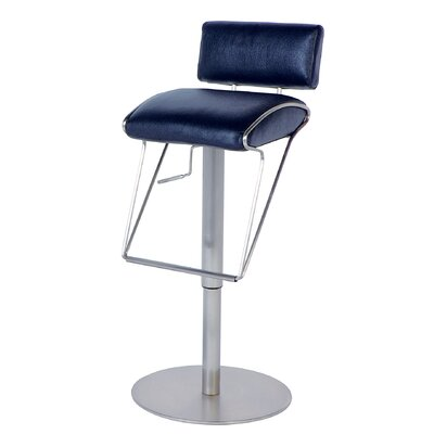 Chintaly Imports Adjustable Swivel Stool with Upholstered Back in Black