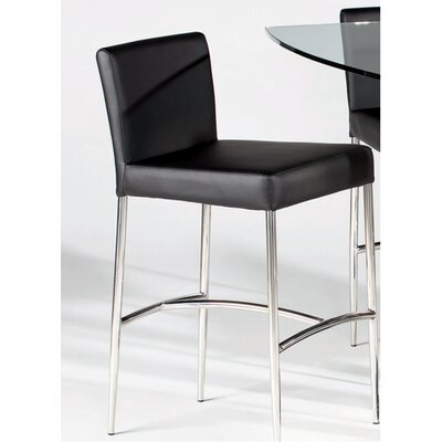 Chintaly Cilla Leather Counter Stool in Black