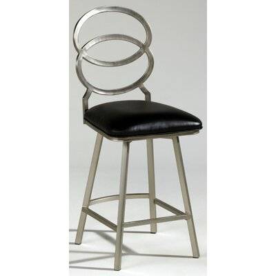 Nickel Plated Memory Return Swivel Barstool in Black