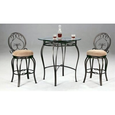 Chintaly Imports Round Wrought Iron Counter Table in Dark Champagne