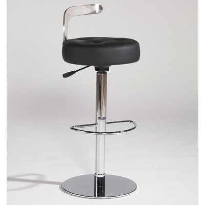 Chintaly Imports Canal Adjustable Leather Swivel Stool in Black