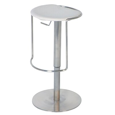 Chintaly Adjustable Backless Swivel Stool in White