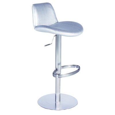 Chintaly Adjustable Height Swivel Stool in Silver