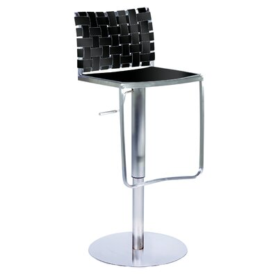 Chintaly Adjustable Height Swivel Stool in Black Rgn. Leather