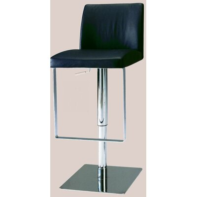 Chintaly Adjustable Swivel Stool with Upholstered Seat in Black