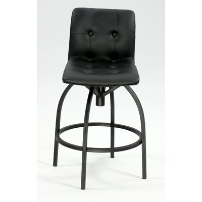 Chintaly Modern Swivel Stool with Upholstered Back Rest