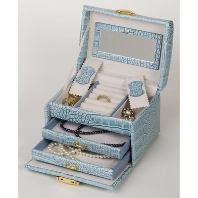 Budd Leather Croco Grain Calf Jewelry Box in Blue