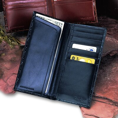 Budd Leather Crocodile Bidente Slim Secretary Wallet