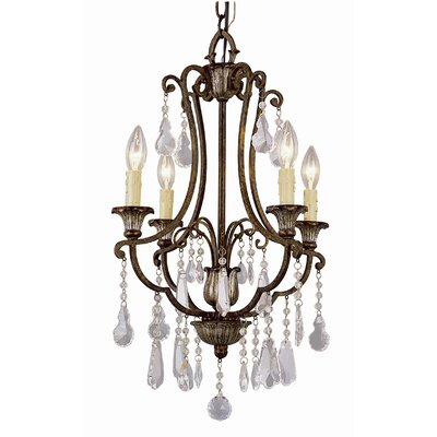 TransGlobe Lighting Crystal Flair 4 Light Chandelier with Crystal Accents