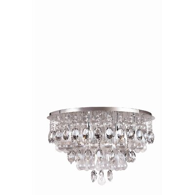 TransGlobe Lighting Contemporary Crystal 12 Light Flush Mount
