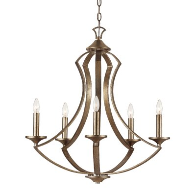 TransGlobe Lighting Silver Leaf 6 Light Chandelier