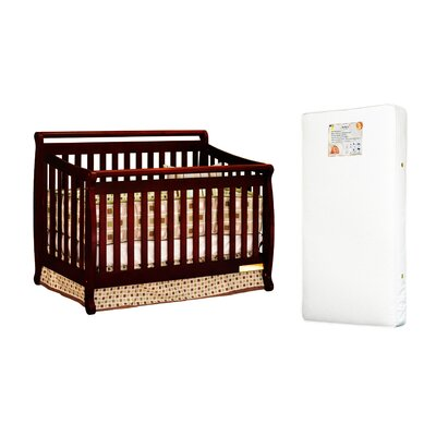 AFG Furniture Amy 3-in-1 Crib w/ Toddler Guardrail and 260-coil Mattress in Cherry