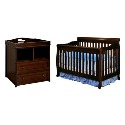 AFG Furniture Athena Alice Crib with 2-Drawer Changer Dresser in Espresso