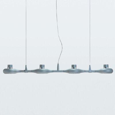 Zaneen Lighting Space Four Light Linear Pendant in Metallic Gray
