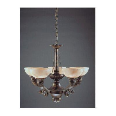 Zaneen Lighting Cordoba Five Light Traditional Chandelier in Antique Brass