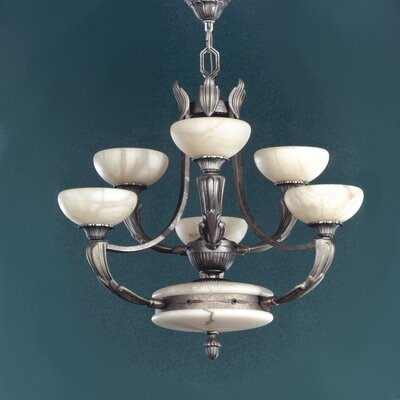 Zaneen Lighting Osma Six Light Chandelier in Satin Leather